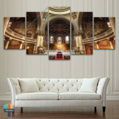 Church Jesus Christian Architecture - 5 Panel Canvas Print Wall Art Set