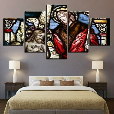 God Father Of Christ Jesus - 5 Panel Canvas Print Wall Art Set