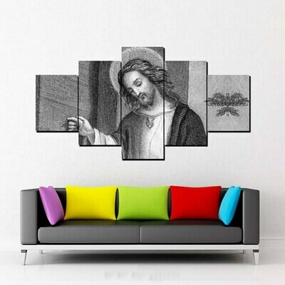 God Jesu White Black - 5 Panel Canvas Print Wall Art Set