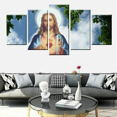 Holy Jesus Christ - 5 Panel Canvas Print Wall Art Set