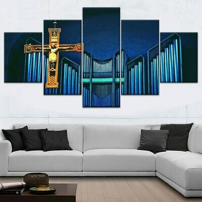 Jesus Christ Cross Graphic - 5 Panel Canvas Print Wall Art Set
