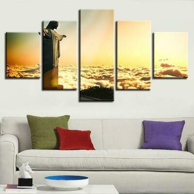 Christ The Redeemer Statue - 5 Panel Canvas Print Wall Art Set