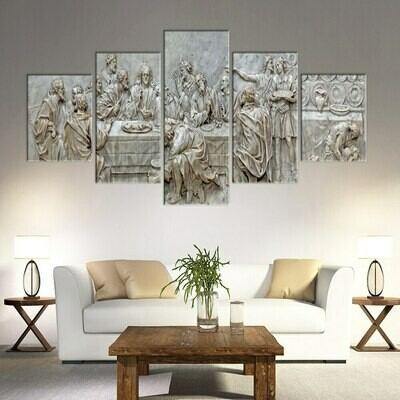 Christian Jesus - 5 Panel Canvas Print Wall Art Set