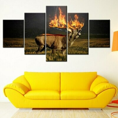 The Burning Deer - 5 Panel Canvas Print Wall Art Set