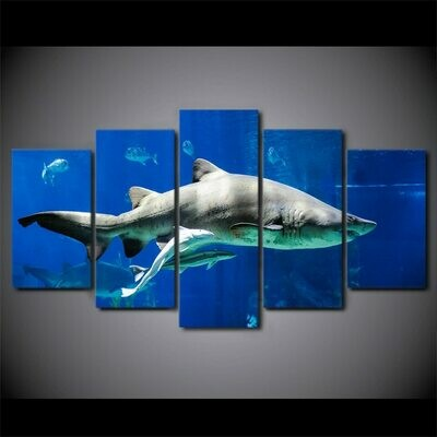White Shark and  Blue Ocean - 5 Panel Canvas Print Wall Art Set