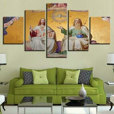 Jesu White Color Statue - 5 Panel Canvas Print Wall Art Set