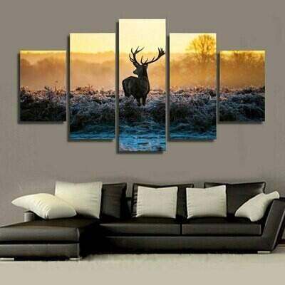 Sunset Deer Modular - 5 Panel Canvas Print Wall Art Set
