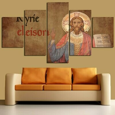 Christian Jesus Cross - 5 Panel Canvas Print Wall Art Set