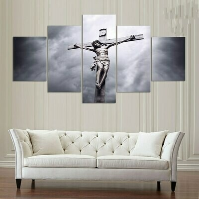 Cross Christian Jesus - 5 Panel Canvas Print Wall Art Set