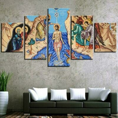 God And Christs Old Age - 5 Panel Canvas Print Wall Art Set