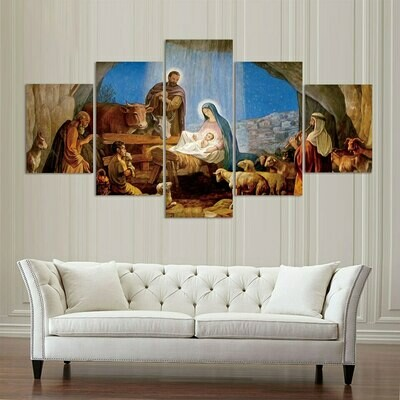 Jesus Birth Mary Christian - 5 Panel Canvas Print Wall Art Set
