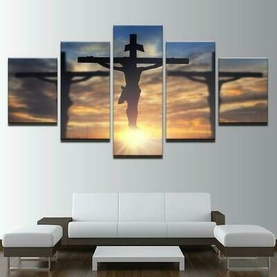 Jesus Christ On Cross Divine Light - 5 Panel Canvas Print Wall Art Set