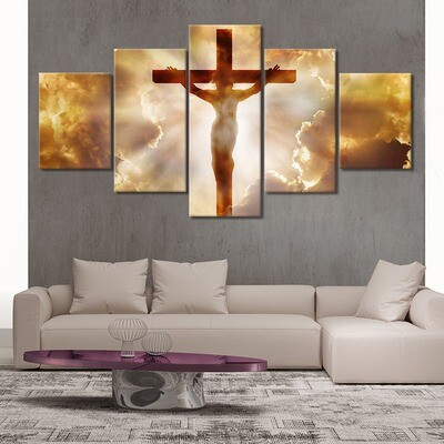 Jesus Christianity - 5 Panel Canvas Print Wall Art Set