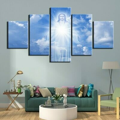 Jesus Christmas Christ Lord - 5 Panel Canvas Print Wall Art Set