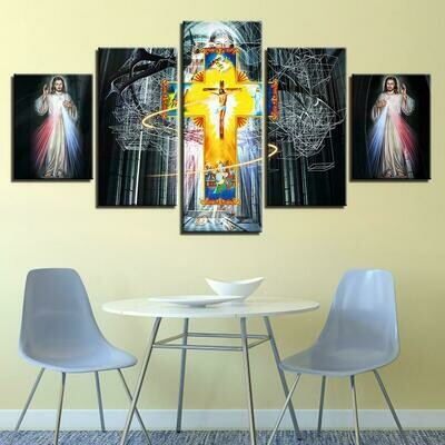 Christian Religion Cross Jesus - 5 Panel Canvas Print Wall Art Set