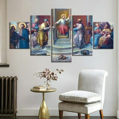 Christianity Abstract - 5 Panel Canvas Print Wall Art Set