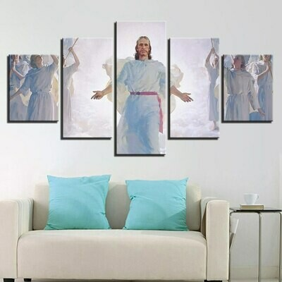 Cross And Jesus - 5 Panel Canvas Print Wall Art Set