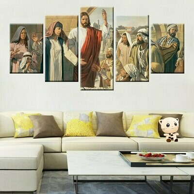 European Classical Religion Jesus - 5 Panel Canvas Print Wall Art Set