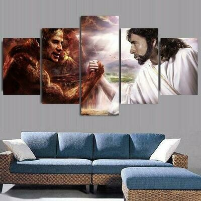 Jesus Christ Vs Devil - 5 Panel Canvas Print Wall Art Set
