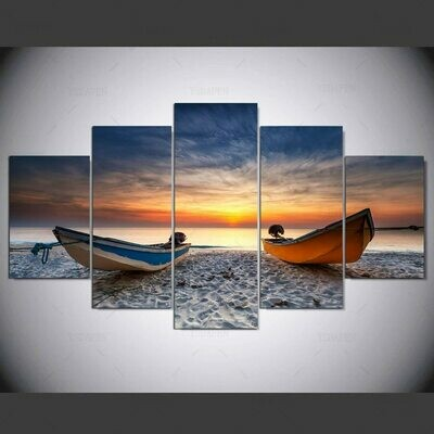 A Ship On The Beach - 5 Panel Canvas Print Wall Art Set