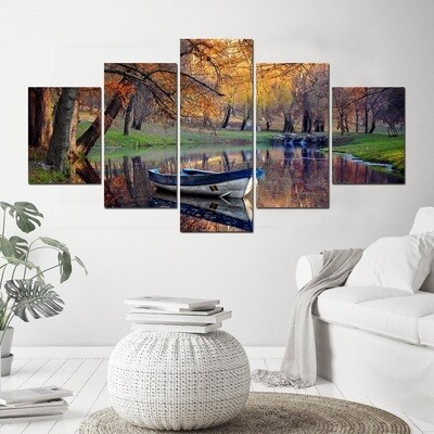Autumn Boat Landscape - 5 Panel Canvas Print Wall Art Set