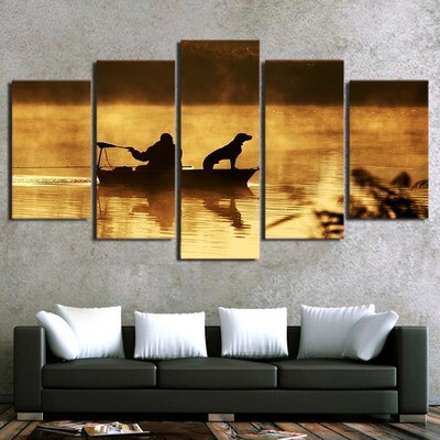 A Dog With Sunset Boat- 5 Panel Canvas Print Wall Art Set