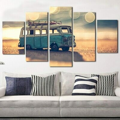 Beach Bus Toy - 5 Panel Canvas Print Wall Art Set
