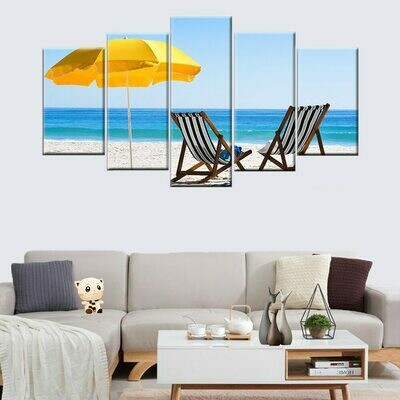 Beach Chairs And Yellow Umbrella - 5 Panel Canvas Print Wall Art Set