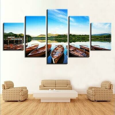 Beautiful Boats In The Lake - 5 Panel Canvas Print Wall Art Set