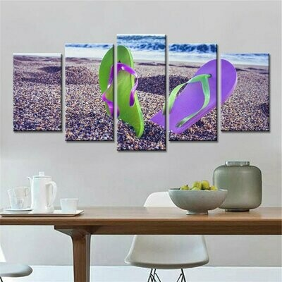 A Pair Of Shoes Stood On The Beach - 5 Panel Canvas Print Wall Art Set