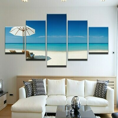 Beach Chair Umbrella - 5 Panel Canvas Print Wall Art Set