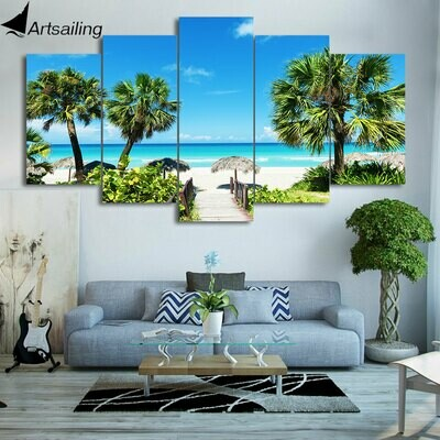 Beach Coconut Grove - 5 Panel Canvas Print Wall Art Set