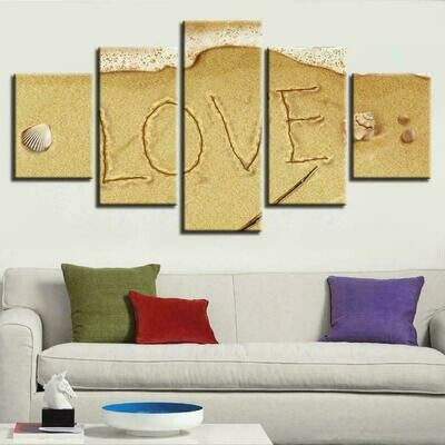 Beach Love - 5 Panel Canvas Print Wall Art Set