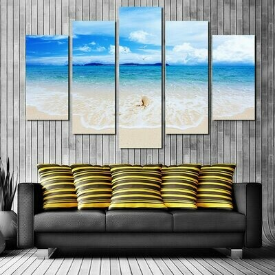 Beach Modern - 5 Panel Canvas Print Wall Art Set