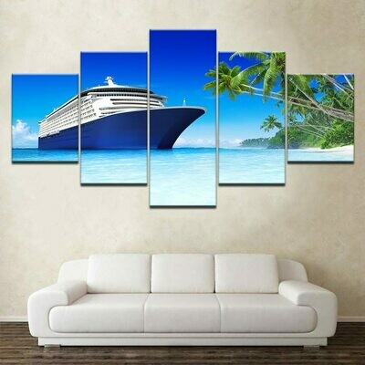 Beach Palm Tree Cruise - 5 Panel Canvas Print Wall Art Set