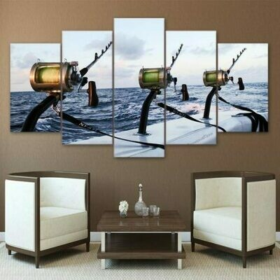 Boat Deep Sea Fishing Rods - 5 Panel Canvas Print Wall Art Set