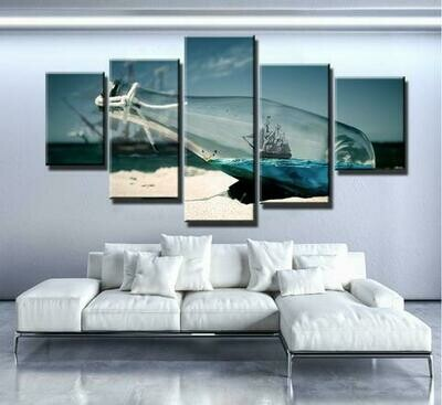 Boat In Bottle - 5 Panel Canvas Print Wall Art Set