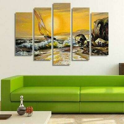 Boat In The Sea - 5 Panel Canvas Print Wall Art Set