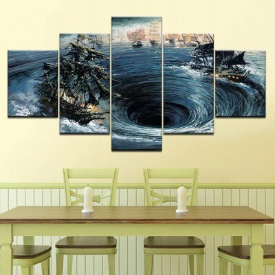 Boat In The Waves - 5 Panel Canvas Print Wall Art Set