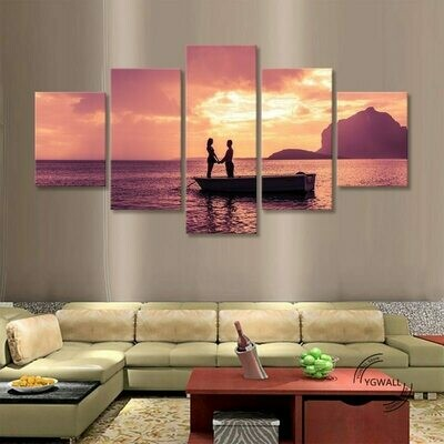 Beach Romantic Couple Sunset - 5 Panel Canvas Print Wall Art Set