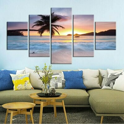 Beach Sea View - 5 Panel Canvas Print Wall Art Set