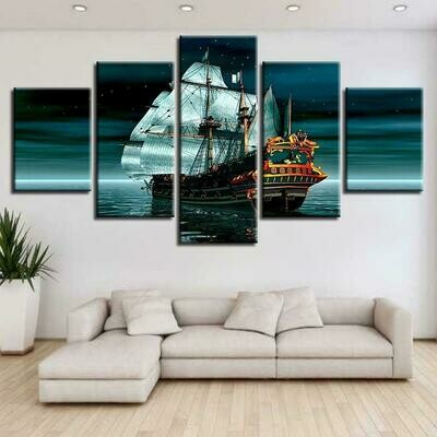 Boat Sea Stars - 5 Panel Canvas Print Wall Art Set