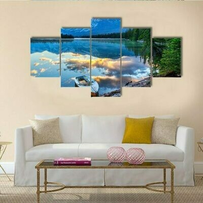 Boat With Rocky Mountains At Edith Lake - 5 Panel Canvas Print Wall Art Set