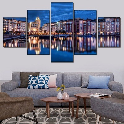 Buildings Lake Reflection Houses Boats - 5 Panel Canvas Print Wall Art Set