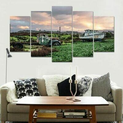 Car And Boat - 5 Panel Canvas Print Wall Art Set