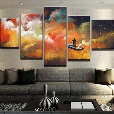 Abstract Colored People Boat Clouds- 5 Panel Canvas Print Wall Art Set