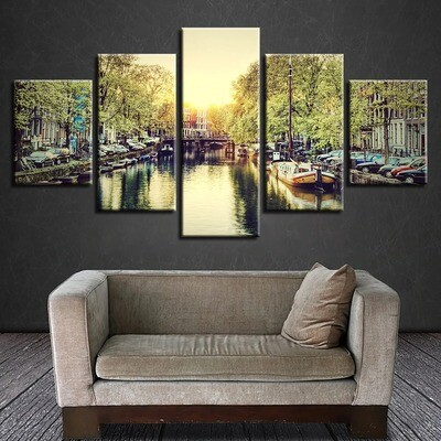Amsterdam City Scenery- 5 Panel Canvas Print Wall Art Set