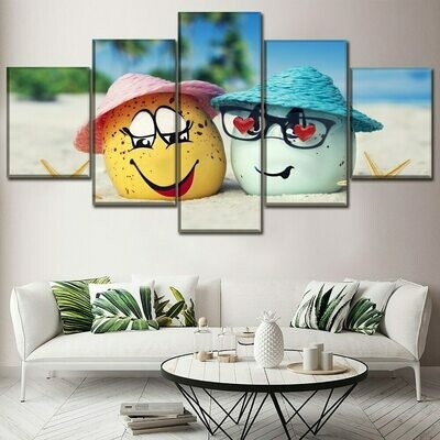 Artistic Egg Summer - 5 Panel Canvas Print Wall Art Set