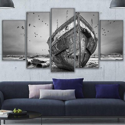 Black White Ship Boat Ashore - 5 Panel Canvas Print Wall Art Set