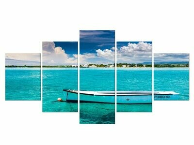 Beach Landscape Boat - 5 Panel Canvas Print Wall Art Set